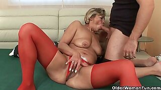 Brazzers xxx: Grandma Penny twirls his soaking wet pussy and toys dog anus