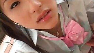 Brazzers xxx: Curvy teen Japanese cutie in fishnet uniform gets pot fucked hard