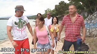 Brazzers xxx: Group life at the beach loves porn movie scenes
