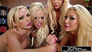 Brazzers xxx: Wanking blonde in office gangbang