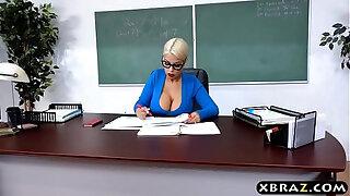 Brazzers xxx: Huge natural tits latina teacher jerks and fucks a student