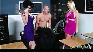 Brazzers xxx: Pair of slutty girlfriends decide to share dick in a threesome
