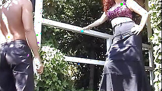 Brazzers xxx: Horny jessica shows her pussy to a group of workers...