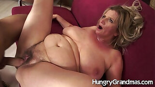 Brazzers xxx: Hairy granny cunt for younger dude