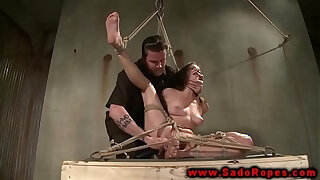 Brazzers xxx: Hogtied suspended sub get toy from her master