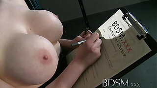 BDSM XXX Teen redhead girl is suspended after epic blow job as Master fingers her wet hole - 1594