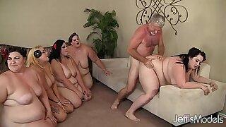 Brazzers xxx: Hung lesbian gang bang with, banged fatty