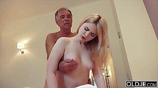 Brazzers xxx: Mother Dagny rides and fucks grandpas cock